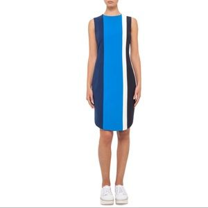 AKRIS PUNTO Blue Colorblock Sleeveless Shift Dress